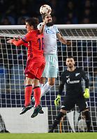 SAN SEBASTIAN, SPAIN - DECEMBER 07, 2017. 2017-18 UEFA Europa League Group L Round 6 football match: Real Sociedad (San Sebastian) - Zenit (St Petersburg) 1 - 3.  Real Sociedad's Mikel Oyarzabal Ugarte (L) against Zenit St Petersburg's Miha Mevlya (R).