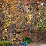 Woman running in the North Woods of Central Park, New York City