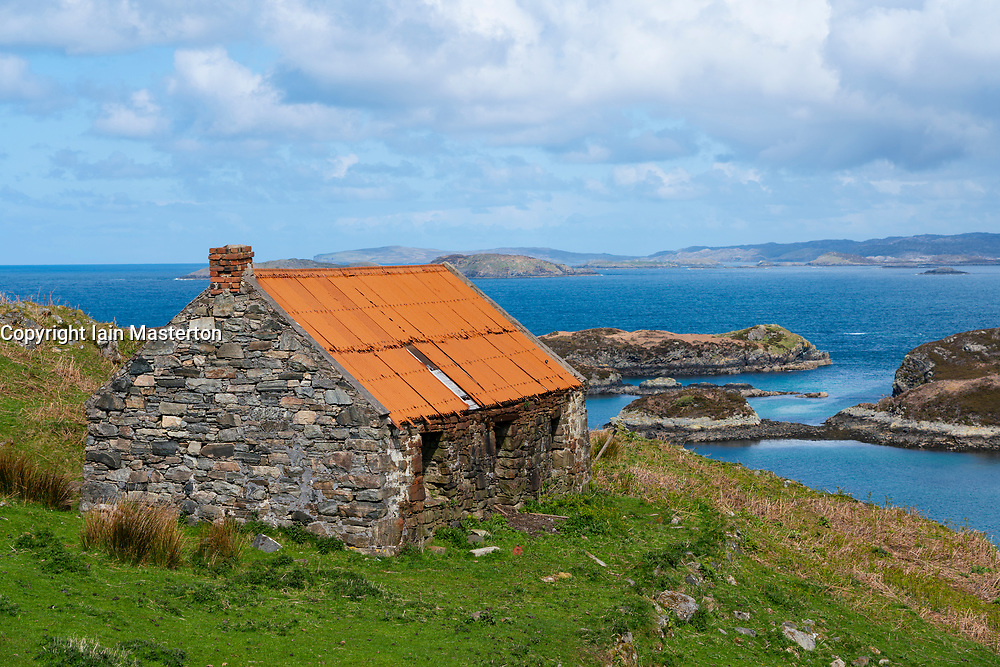 Old croft at Drumbeg in Sutherland on the North Coast 500 scenic driving route in northern Scotland, UK