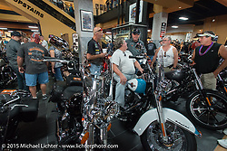 Inside Destination Daytona Harley-Davidson during the 2015 Biketoberfest Rally. FL, USA. October 17, 2015.  Photography ©2015 Michael Lichter.