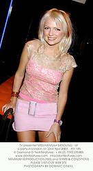 TV presenter MISS HANNAH SANDLING,  at a party in London on 23rd April 2003.PIY 185
