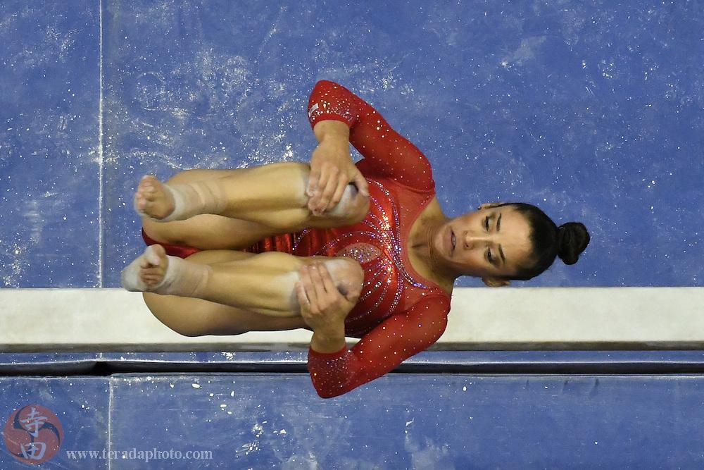 July 10, 2016; San Jose, CA, USA; Aly Raisman, Needham, MA, during the balance beam in the women's gymnastics U.S. Olympic team trials at SAP Center.