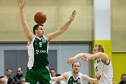 Smiljan Pavic of Krka vs Sasu Salin of Olimpija during basketball match between KK Union Olimpija Ljubljana and KK Krka Novo mesto in Final match of 11th Slovenian Spar Cup 2012, on February 19, 2012 in Sports hall Brezice,  Brezice, Slovenia. Union Olimpija defeated Krka 68-63 and became Slovenian Cup Champion 2012. (Photo By Vid Ponikvar / Sportida.com)