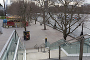 As the UK government announces further Coronavirus-related restrictions to its citizens, with the immediate closure of pubs, cafes, gyms and cinemas, and the worldwide number of deaths reaching 10,000 with 240,000 cases, 953 of those in London alone, the Millennium Walk on the capitals Southbank remains deserted, on 20th March 2020, in London, England.