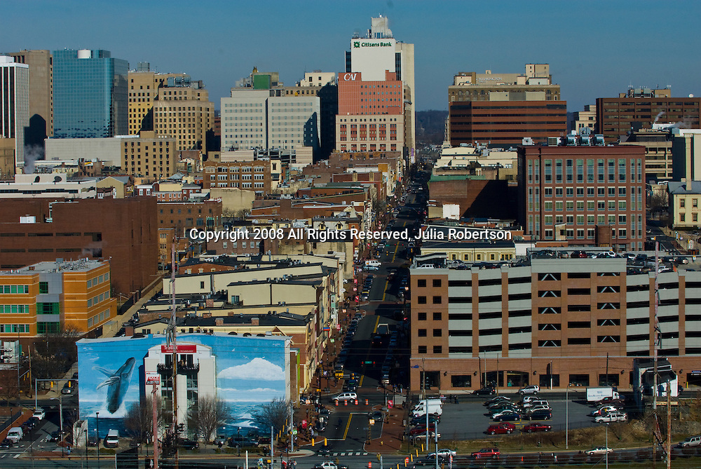 Aerial views of the Whale Wall and Delaware Technical School in Wilmington Delaware, view north up Market Street