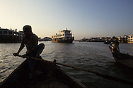 A ferryboat  in Dhaka, Bangladesh.  Photograph made for a book project on Ferryboats..Photograph by Dennis Brack bb24