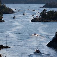 Blindleia, kystgaten mellom Lillesand og Kristiansand, fylles opp av små og store båter i slutten av juli.
