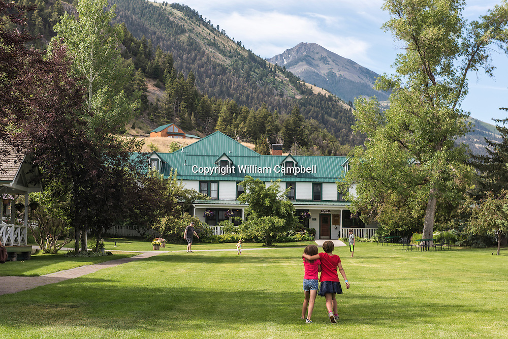 The front lawn of the world famous. locally owned, Chico Hot Springs Resort with Emigrant Peak in background.