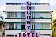 Colony Hotel art deco architecture on Ocean Drive, South Beach, Miami, Florida, United States of America