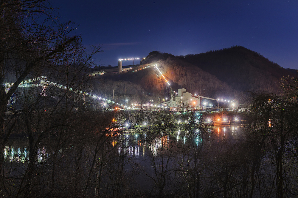 The Mammoth Coal Processing Plant is seen in a long exposure.
