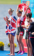 Sarasota. Florida Women's Single Schull medalist. Center Gold Medalist SUI W1X, GMELIN, Jeannine. , Jumping, left GBR W1X, Victoria THORNLEy and Right Bronze medalist AUT W1X. LOBNIG, Magdalena.                             USA.Sunday Final's Day at the  2017 World Rowing Championships, Nathan Benderson Park<br /> <br /> Sunday  01.10.17   <br /> <br /> [Mandatory Credit. Peter SPURRIER/Intersport Images].<br /> <br /> <br /> NIKON CORPORATION -  NIKON D4S  lens  VR 500mm f/4G IF-ED mm. 320 ISO 1/1600/sec. f 6.3