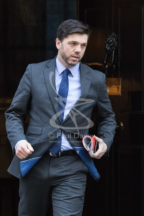 Downing Street, London, February 23rd 2016. Welsh Secretary Stephen Crabb leaves the weekly cabinet meeting.  ©Paul Davey<br /> FOR LICENCING CONTACT: Paul Davey +44 (0) 7966 016 296 paul@pauldaveycreative.co.uk