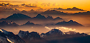 Andes mountains at sunset near Aconcagua, <br /> (highest peak in South America) , aerial view, border between Argentina and Chile.