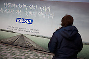 Dorasan/South Korea, Republic Korea, KOR, 28.11.2009: Located 30 meters from the South Korean boundary fence of the northern part of the civilian controlled area, Dora Mountain Train Station is the northernmost Gyeongui-seon (Seoul-Sinuiju) Line train station in South Korea. It attracted worldwide attention with the visit of United States President Bush on February 20, 2002. When the South-North traffic becomes a reality with the reconnection of Gyeongui-seon Line, Dora Station will play a central role in the Asia-Europe Iron Silk Road that will connect with not only North Korea but also the greater countries of China, Russia and beyond.
