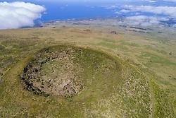 Luftaufnahme von Vulkankrater auf Pico, Azoren / Aerial View of volcano crater, Acores