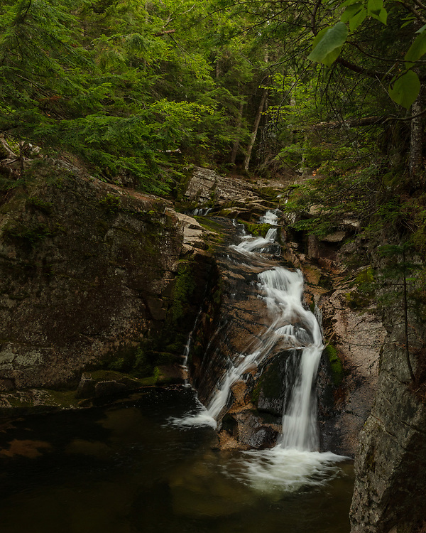 The sublime tranquility of the flowing cascades in the woods of Waterville Valley, NH.