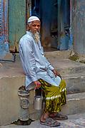 Portrait of a moslem man, Jodhpur's old city.