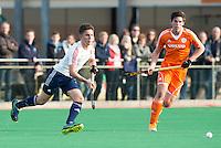 ROTTERDAM - Teun Beins  (Neth.)  with Daniel Jackson (l)   Practice Match Hockey : Netherlands Boys U18  v England U18 .  COPYRIGHT KOEN SUYK