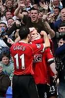 Photo: Paul Thomas.<br />Everton v Manchester United. The Barclays Premiership. 28/04/2007.<br /><br />Wayne Ronney celebrates Utd's third goal.