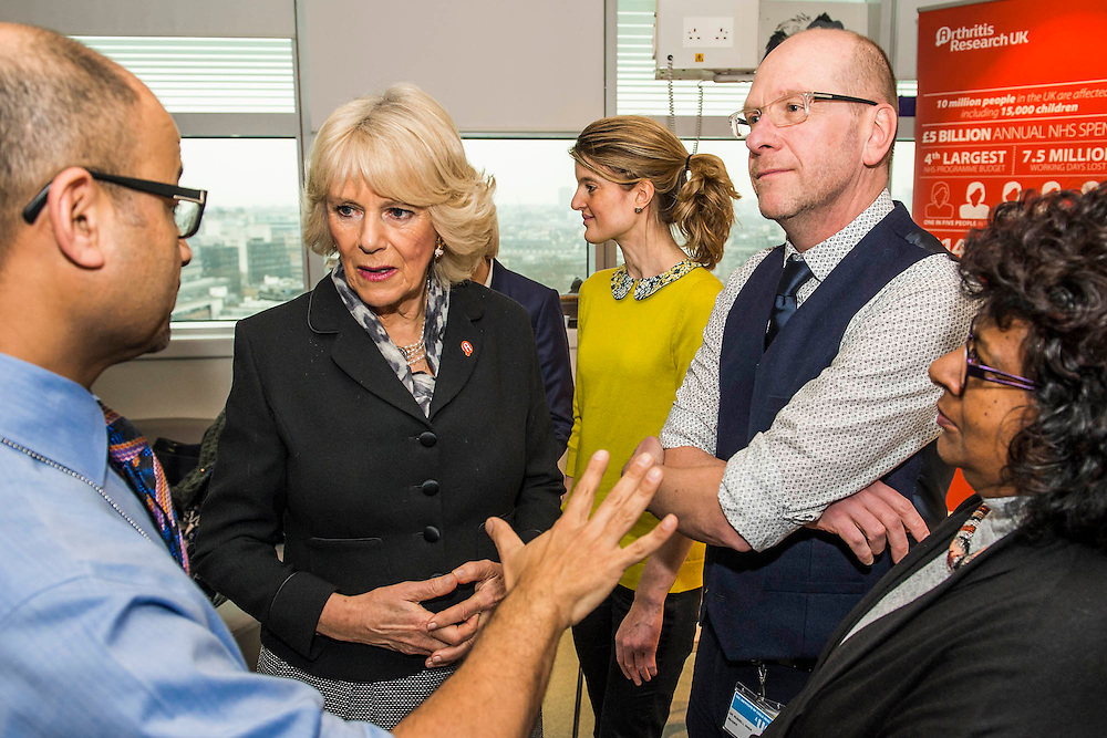 Her Royal Highness meets patients and staff in the Rec Room. The Duchess of Cornwall, Patron, Arthritis Research UK, visits and meets patients of the Adolescent Inpatient Unit at University College London Hospitals.  •Her Royal Highness then tours a laboratory at the Arthritis Research UK Centre for Adolescent Rheumatology and meeting researchers and supporters. London 12 Feb 2015.