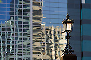Historic street lamp against modern architecture.<br /> <br /> Larger JPEG + TIFF images available by contacting use through our contact page at :..www.photography4business.com