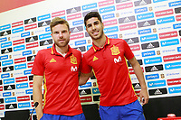 Spain's Marco Asensio (r) and Asier Illarramendi in press conference after training session. June 8,2017.(ALTERPHOTOS/Acero)