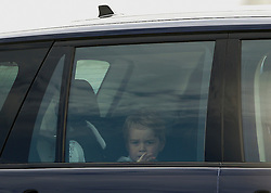 ©  London News Pictures. 08/07/2016. RAF Fairford, UK. Prince GEORGE  arriving for a visit to the International Air Tattoo at RAF Fairford in Gloucestershire where Prince George was introduced to the Red Arrows.  Photo credit: Ian Schofield/LNP