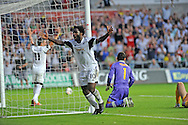 Wilfried Bony celebrates after he scores Swansea city's 4th goal. <br /> UEFA Europa league, play off round, 1st leg match, Swansea city v FC Petrolul Ploiesti at the Liberty stadium in Swansea on Thursday 22nd August 2013. pic by Phil Rees , Andrew Orchard sports photography,