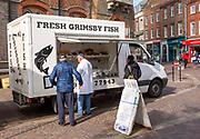 Fresh Grimsby Fish van in Market Place, Newbury, Berkshire, England, UK