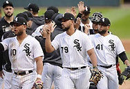 CHICAGO - SEPTEMBER 28:  Jose Abreu #79 of the Chicago White Sox celebrates with teammates after the game against the Detroit Tigers during the first game of a double header on September 28, 2019 at Guaranteed Rate Field in Chicago, Illinois.  (Photo by Ron Vesely)  Subject:   Jose Abreu