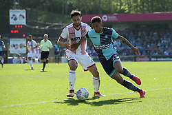 Nathan Tyson of Wycombe Wanderers under pressure from  Chris Whelpdale of Stevenage - Mandatory by-line: Jason Brown/JMP - 05/05/2018 - FOOTBALL - Adam's Park - High Wycombe, England - Wycombe Wanderers v Stevenage - Sky Bet League Two