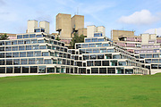 Student accommodation buildings known as Ziggurats, campus of University of East Anglia, Norwich, Norfolk, England, UK