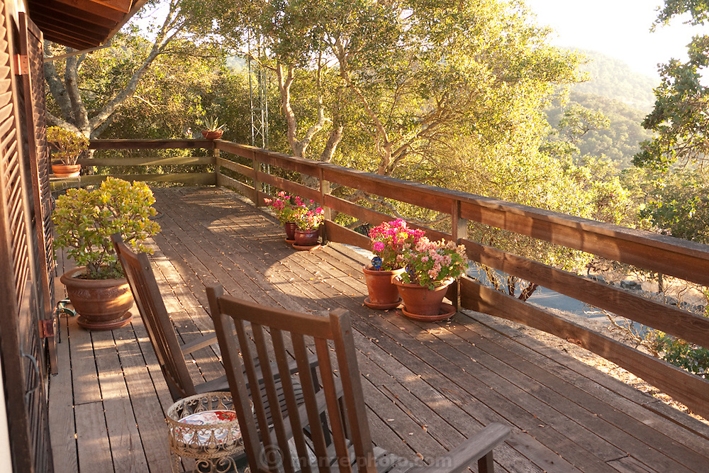 Menzel guesthouse deck, Napa Valley, CA.