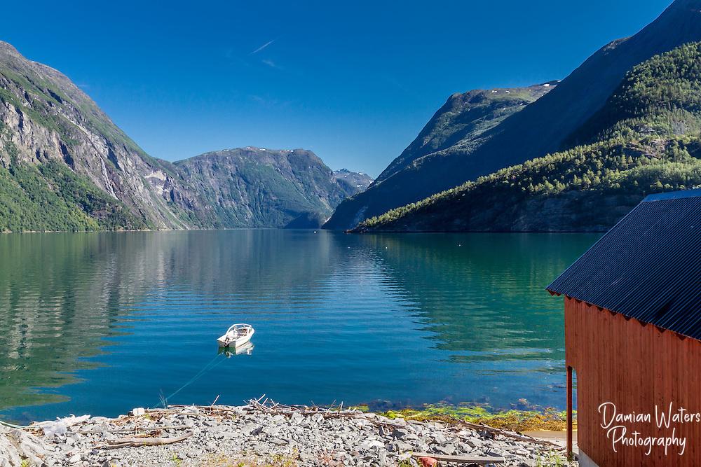View along Storfjorden at Fjora, Norway - August