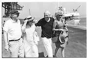 WILLIAM BUCKLEY, SIR JAMES GOLDSMITH, PAT BUCKLEY, Party in the harbour on Rupert Murdoch's yacht.  Forbes weekend, TANGIER 1989