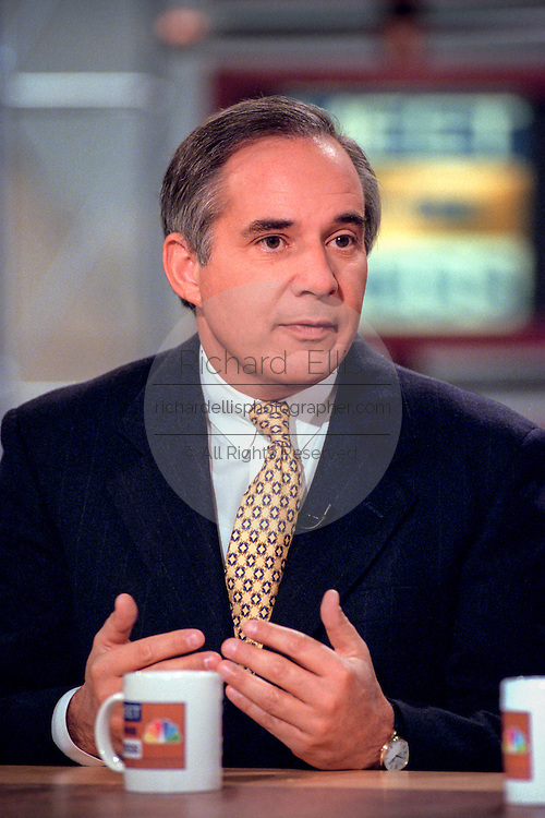 Senator Robert Torricelli (D-NJ), a member of the Senate Judiciary committee discusses the upcoming impeachment hearings against President Clinton during NBC's Meet the Press October 11, 1998 in Washington, DC.