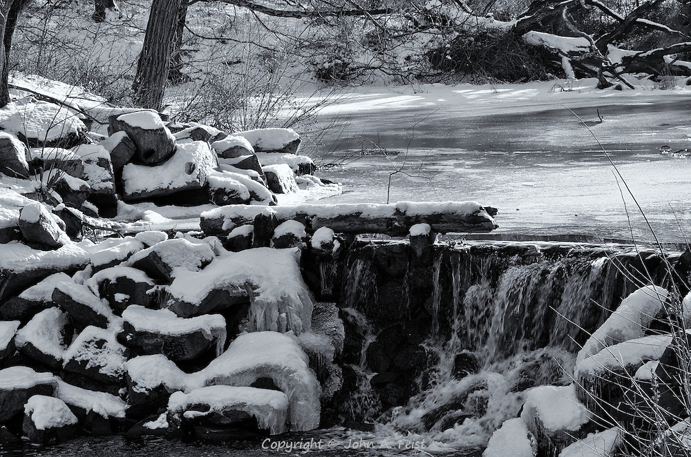 A different view of the waterfall taken late in the afternoon.  The late day sun is showing highlights in the snow.