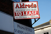 Shop to lease Aldreds commercial. High street shops and shopping,  January 2009, Lowestoft, Suffolk, England