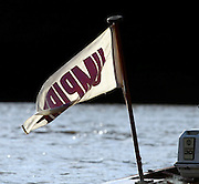 PUTNEY, LONDON, ENGLAND, 05.03.2006, Umpires flag hanging from the back of the umpires launch - Pre 2006 Boat Race Fixtures,.   © Peter Spurrier/Intersport-images.com..CUBC, Bow Luke Walton, No. 2 Tom Edwards, No.3 Sebastian Thormann, No 4. Thorsten Englemann, No.5 Sebastian Schulte, No.6 Kieran West, No.7 Tom James, stroke Kip McDaniel and cox Peter Rudge...OUBC, Bow Robin Esjmond-Frey, No.2 Colin Smith, No.3 Jake Wetzel, No.4 Paul Daniels, No.5 James Scroder. No.6 barney Williams, No. 7 Tom Parker, stroke Bastien Ripoll, and cox Nick Brodie,..[Mandatory Credit Peter Spurrier/ Intersport Images] Varsity Boat Race, Rowing Course: River Thames, Championship course, Putney to Mortlake 4.25 Miles
