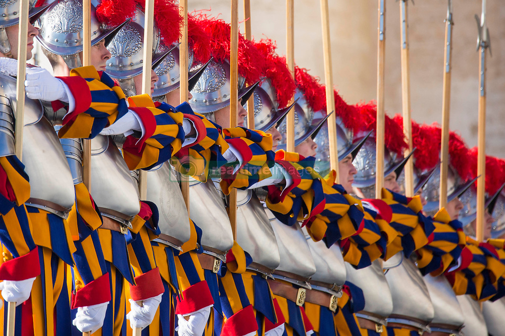 """Pope Francis delivers his traditional Christmas Message and """"Urbi et Orbi"""" Blessing from the balcony of St Peter's basilica at Saint Peter's Square in Vatican City on December 25, 2017. 25 Dec 2017 Pictured: Pontifical Swiss Guards parade before the arrival of Pope Francis for traditional Christmas Message and """"Urbi et Orbi"""" Blessing at Saint Peter's Square in Vatican City on December 25, 2017. Photo credit: Stefano Costantino / MEGA TheMegaAgency.com +1 888 505 6342"""
