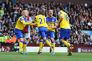 Everton players celebrate after Leon Osman (21) scores their 2nd goal.  Barclays Premier League, Aston Villa v Everton at Villa Park in Aston, Birmingham on Saturday 26th Oct 2013. pic by Andrew Orchard, Andrew Orchard sports photography,
