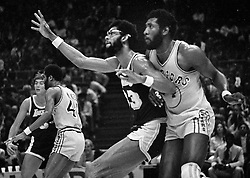 Lakers center Kareem Abdul Jabbar<br /> with Warrior Clifford Ray.