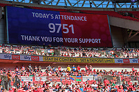 Lincoln City fans below the screen showing the attendance at 9751<br /> <br /> Photographer Chris Vaughan/CameraSport<br /> <br /> The EFL Sky Bet League One Play-Off Final - Blackpool v Lincoln City - Sunday 30th May 2021 - Wembley Stadium - London<br /> <br /> World Copyright © 2021 CameraSport. All rights reserved. 43 Linden Ave. Countesthorpe. Leicester. England. LE8 5PG - Tel: +44 (0) 116 277 4147 - admin@camerasport.com - www.camerasport.com