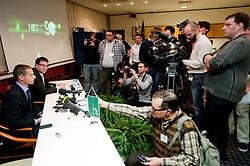 New president of NZS Aleksander Ceferin and Ales Zavrl of NZS at press conference after the General Assembly of NZS - Football Association of Slovenia, on February 17, 2011 in Hotel Kokra, Brdo pri Kranju, Slovenia. (Photo By Vid Ponikvar / Sportida.com)