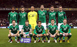 Republic of Ireland team (left to right, back to front) Cyrus Christie, Matthew Doherty, goalkeeper Darren Randolph, Shane Duffy, Kevin Long, Richard Keogh, Harry Arter, James McClean, Callum Robinson, Jeff Hendrick and Aiden O'Brien during the UEFA Nations League, League B, Group four match at The Aviva Stadium, Dublin.