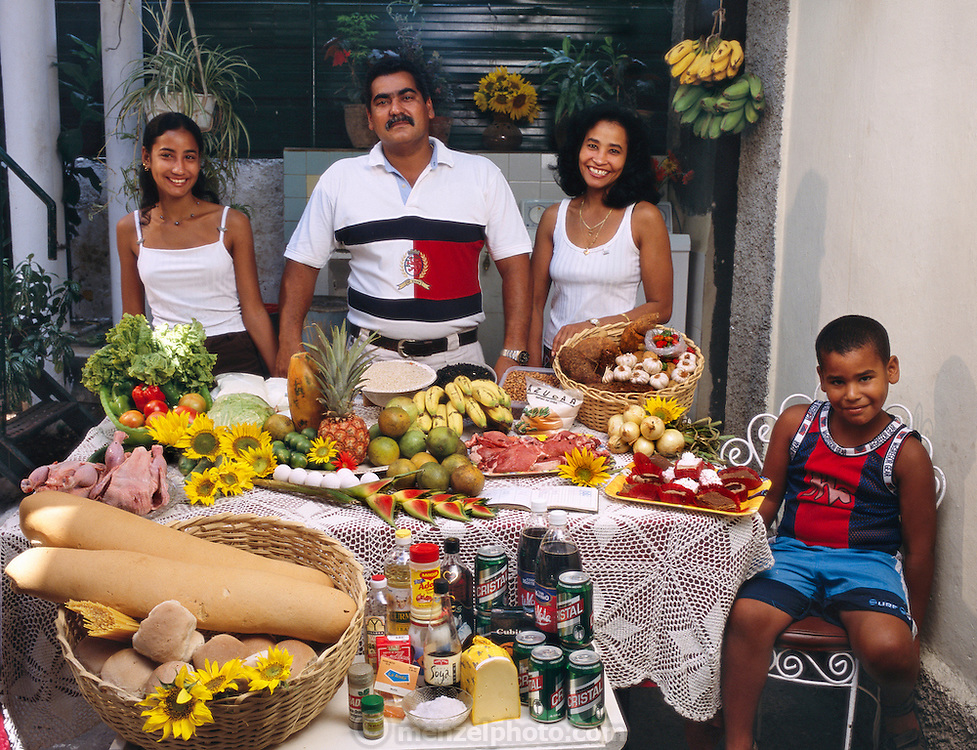 Ramon Costa Allouis, 39, Sandra Raymond Mundi, 38, and their children Lisandra, 16, and Fabio, 6 in the courtyard of their extended family's home in Havana, Cuba with one week's worth of food. From the book Hungry Planet: What the World Eats (Model Released)