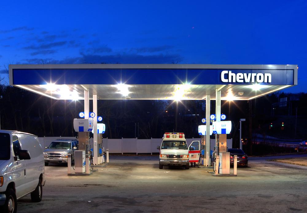 Chevron Station in an urban setting