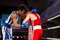 Bien Jerome Aquino of Italy (BLUE) fights against Igor Pertot of Slovenia (RED) in Elite 56 kg Category during Dejan Zavec Boxing Gala event in Ljubljana, on March 11, 2017 in Grand Hotel Union, Ljubljana, Slovenia. Photo by Vid Ponikvar / Sportida