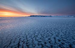 Western coast of Spitsbergen in March with ocean ice, Spitsbergen, Svalbard, Norway