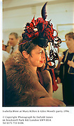 Isabella Blow at Mary Killen & Giles Wood's party. 1996<br /><br />© Copyright Photograph by Dafydd Jones<br />66 Stockwell Park Rd. London SW9 0DA<br />Tel 0171 733 0108.